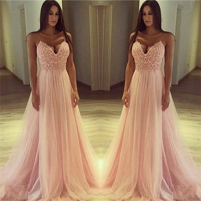 Spaghetti Straps V-neck Pink Prom Dress   Lace Tulle Sleeveless Sexy Evening Gown_3