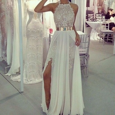 A-Line Halter Chiffon Long Prom Dress with Gold Belt  Lace Floor Length Evening Gown CJ0205A_3