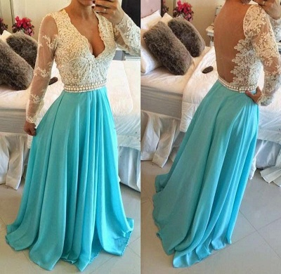 Long Turquoise Lace Dress for Formal Occasions Long Sleeve Prom Dress_3