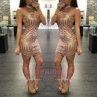 Tight Sequins Sheath Halter  Mini Homecoming Dresses_1