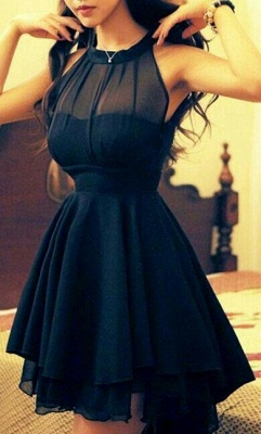 Black  Cocktail Dresses High Neck Short See Through Summer  Simple Homecoming Gowns_1