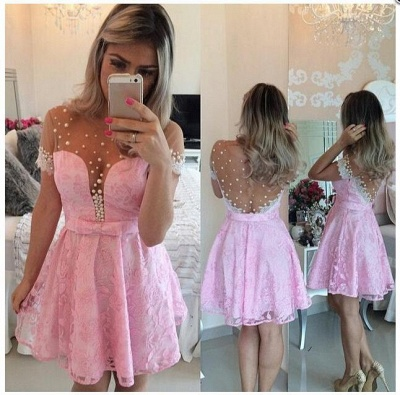 Lovely  Candy Pink Lace Homecoming Dresses Short Sleeves Beaded Sheer Back Matric Dress_3