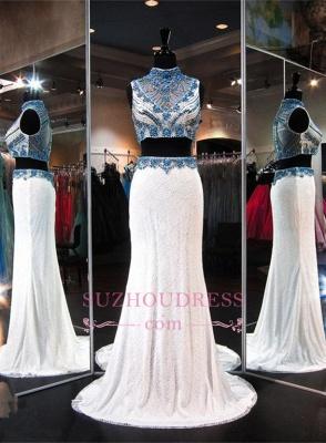 High-Neck Gorgeous Lace Two-Piece Zipper Sleeveless Crystals Evening Dress_3