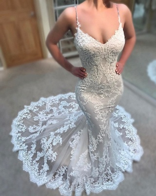 Stunning Lace Appliques Mermaid Wedding Dresses Spaghettis-Straps Lace Bridal Gowns Online_3