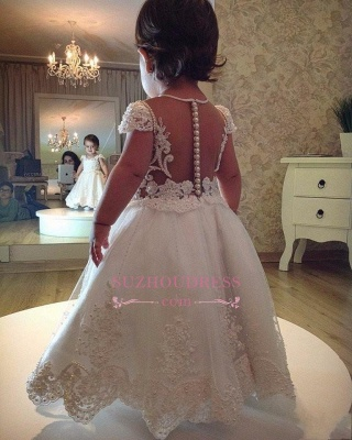 Pearls Lace Short Sleeves A-line Flower Girl Dress