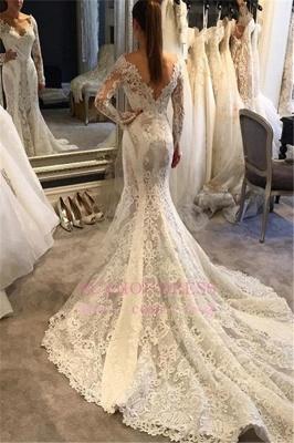 Mermaid Long-Sleeves V-Neck Lace Elegant Wedding Dress_2