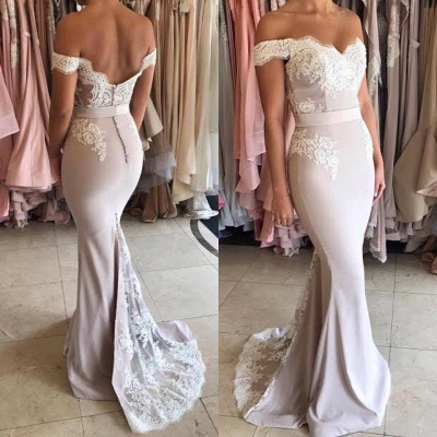 Off The Shoulder Lace Mermaid Formal Evening Dress   Open Back Ball Dresses BA7854_3