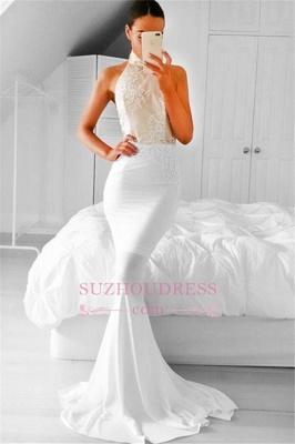 Appliques Mermaid Halter Simple Sleeveless Prom Dress_3