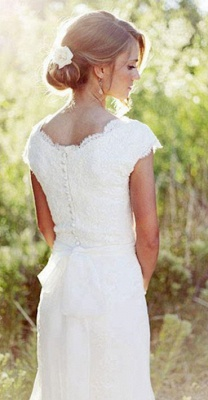 Latest Simple V-Neck White Lace Wedding Gowns Chiffon Short Sleeve Plus Size Bridal Dress_2