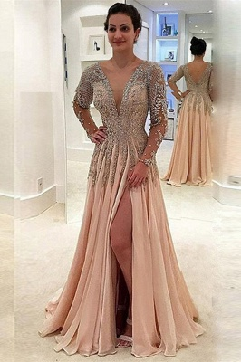 Glamorous V-Neck Long Sleeves Prom Dresses  | A-line Crystal Side Slit Evening Gowns_1