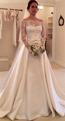 Latest Bateau Long Sleeve Satin Bridal Gowns Formal Lace Bowknot Beadings Long Wedding Dress_1
