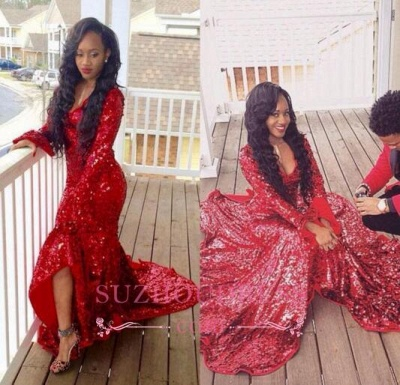 Red Mermaid Sequined  Sweep Train Gorgeous Hi-Lo Long-Sleeve Prom Dress BA6080_1