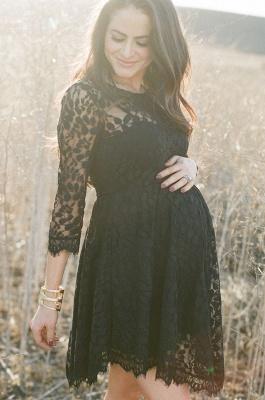 Elegant Black Lace Maternity Dress 3/4 Long Sleeve Short Baby Shower Dresses BA3560_1