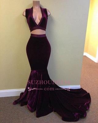 Mermaid Grape Stunning Two-Pieces V-Neck Velvet Prom Dress BA5226_1