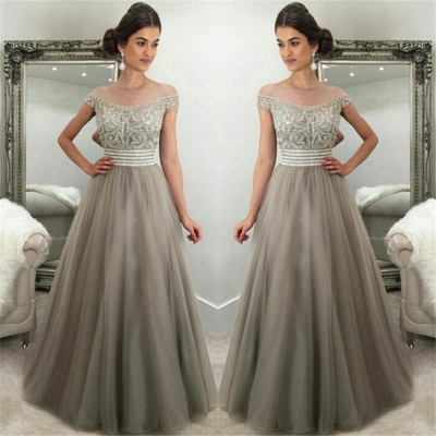 Off The Shoulder Crystals Prom Dresses  Silver Grey Tulle Gorgeous Evening Gown_3