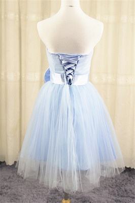 Strapless Tulle Short Cute Blue Homecoming Dress with Bowknot Lace-up Mini  Bridesmaid Dresses Under 100_2