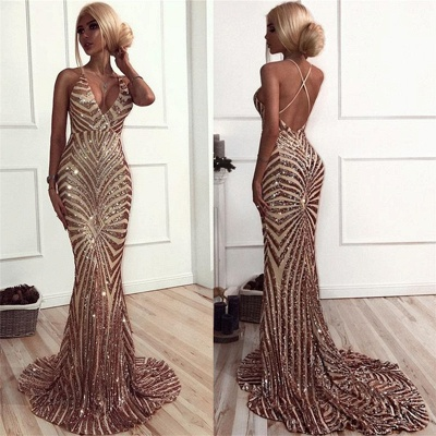 Sexy Champagne Stripes Formal Evening Dress | V-neck Open Back Ball Dress with Long Train BA8496_5