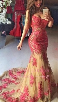 Tulle Sweetheart Elegant Mermaid Appliques Zipper Prom Dress BA5102_3