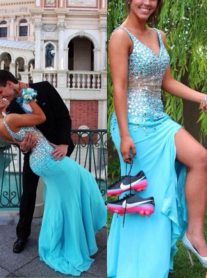 Light Blue Crystal V-Neck Prom Dress Mermaid Zipper Chiffon Long Formal Occasion Dress BA2147_3