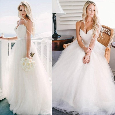 Cute Spaghetti Straps Sweetheart Princess Wedding Dresses Tulle Ball Gown Floor Length Bridal Gowns_2