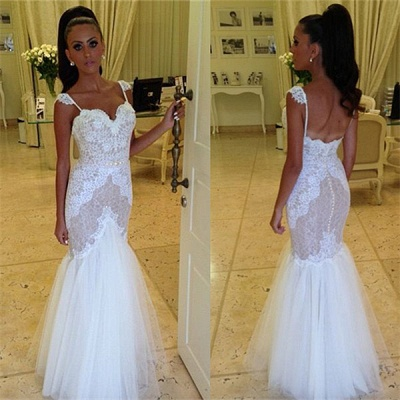 Straps Sweetheart Wedding Dress  Mermaid Lace Tulle Backless Wedding Gowns_3