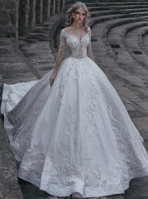 Glamorous Appliques Lace Wedding Dresses Long Sleeve Bridal Gowns On Sale_1