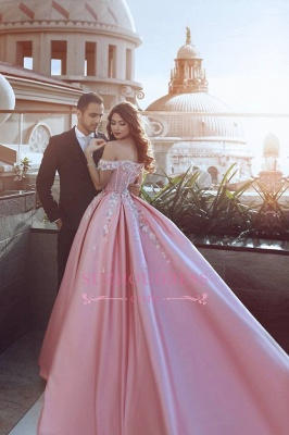 Luxury Floral Off-The-Shoulder Prom Dresses  Pink Puffy Evening Gowns_4
