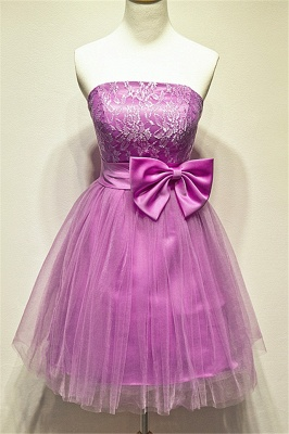 Tulle Strapless Lace Mini Cute Homecoming Dress Under 100 Zipper Short  Bridesmaid Dress With Bowknot_1