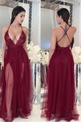 Sexy Deep V-Neck A-line Prom Dresses  Open Back Side Slit Evening Dresses_1