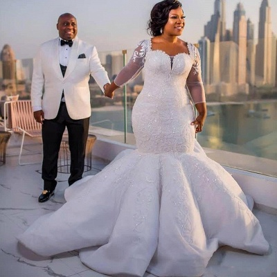Tempting Sweetheart Mermaid Lace White Wedding Dresses Long Sleeves Appliques Bridal Gowms Online_6