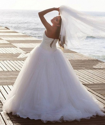 New Arrival Sweetheart Tulle Wedding Dress with Beadings Elegant Sweep Train Bridal Gowns BA7296_3