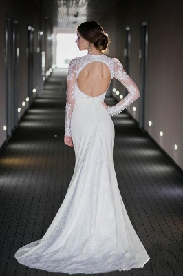 Vintage Long Sleeve Lace High Neck Wedding Dress Satin Bridal Gown with Open Back_3