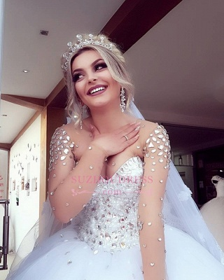 Brilliant Ball-Gown Wedding Dresses | Crystals Jewel Long-Sleeves Bridal Gowns_5