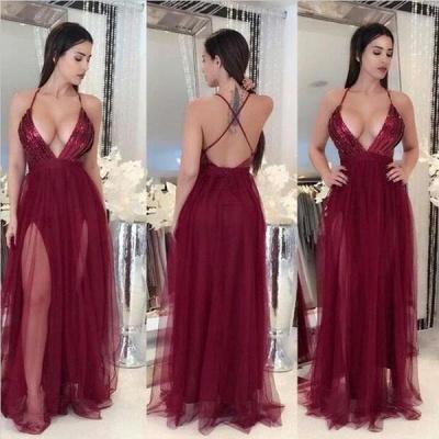 Sexy Deep V-Neck A-line Prom Dresses  Open Back Side Slit Evening Dresses_3