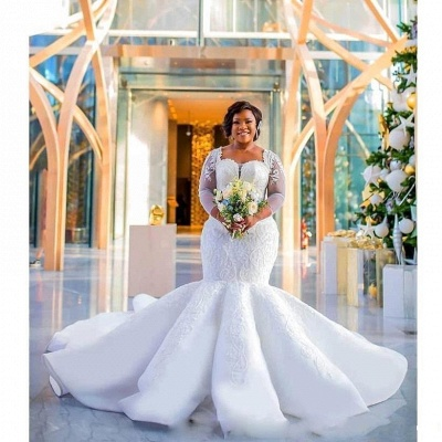 Tempting Sweetheart Mermaid Lace White Wedding Dresses Long Sleeves Appliques Bridal Gowms Online_5
