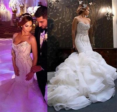 New Arrival Mermaid Sweetheart Wedding Dreses  Crystal Ruffles Bridal Gowns_3