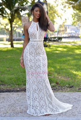 Lace Newest Mermaid Sweep-Train Sleeveless Prom Dress_3