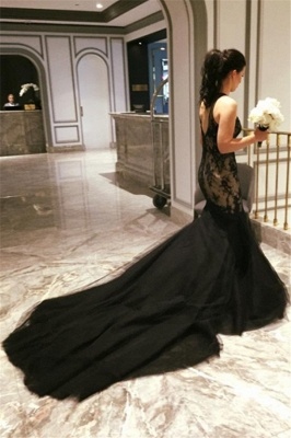 Sexy Mermaid Black Evening Gowns Lace Court Train  Party Dresses_3