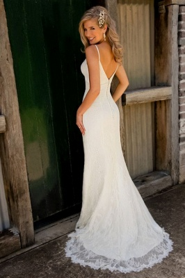 Sexy Mermaid Lace Wedding Dresses  Spaghetti Strap Long Bridal Gowns_3