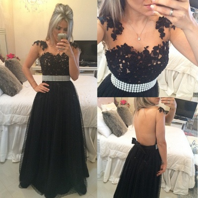 A-Line Black Tulle  Prom Dress Beading Lace Bowknot Formal Occasion Dresses_1