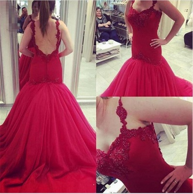 Red Open Back Prom Dresses Sleeveless Mermaid Tulle Evening Gowns_1