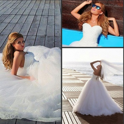 New Arrival Sweetheart Tulle Wedding Dress with Beadings Elegant Sweep Train Bridal Gowns BA7296_4