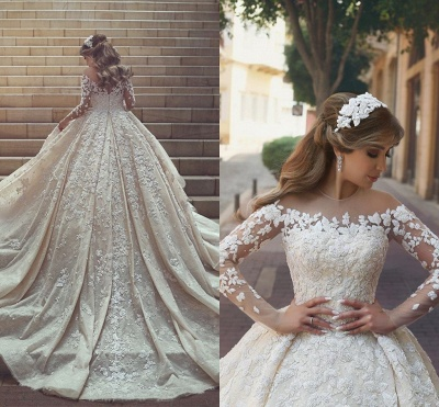 Gorgeous Crystal Appliques Wedding Dress  Tulle Long Sleeves Bridal Gowns_5