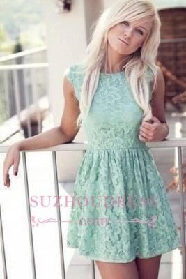 Sleeveless  Mint Bateau Miniskirt Lace New Pretty Homecoming Dress_1