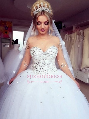 Brilliant Ball-Gown Wedding Dresses | Crystals Jewel Long-Sleeves Bridal Gowns_6