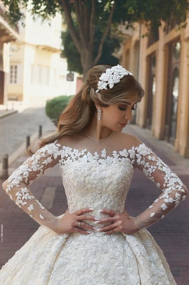 Gorgeous Crystal Appliques Wedding Dress  Tulle Long Sleeves Bridal Gowns_3