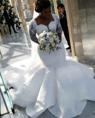 Tempting Sweetheart Mermaid Lace White Wedding Dresses Long Sleeves Appliques Bridal Gowms Online_3