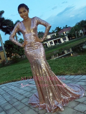 V-Neck Glamorous  Prom Gowns Long Sleeve Sequins Mermaid Evening Dress_3