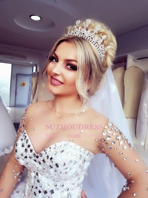 Brilliant Ball-Gown Wedding Dresses | Crystals Jewel Long-Sleeves Bridal Gowns_3