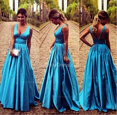 Gorgeous A-Line V-Neck Prom Gowns Sleeveless Floor Length Sexy Evening Dresses_2